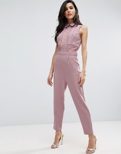Кружевной комбинезон с топом-рубашкой ASOS - Розовый