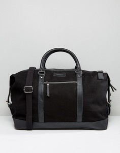 Дорожная сумка из хлопковой парусины и кожи Sandqvist - Черный
