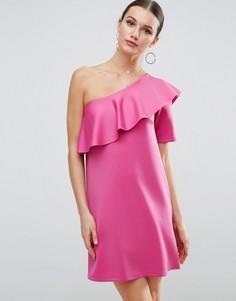 Платье мини на одно плечо с асимметричной оборкой ASOS - Розовый