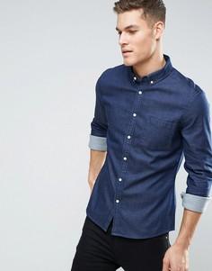 Темная джинсовая рубашка узкого кроя ASOS - Темно-синий