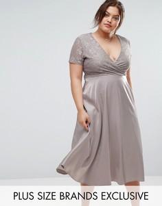 кружевное платье миди с пышной юбкой Truly You - Серый