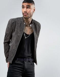 Замшевая байкерская куртка серого цвета Goosecraft - Серый