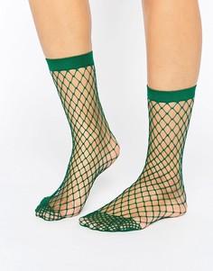 Зеленые носки в крупную сетку ASOS - Зеленый