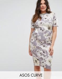 Облегающее платье с цветочным принтом ASOS CURVE - Мульти