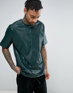 Oversize-футболка из искусственной кожи с декоративным швом ASOS - Зеленый