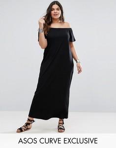 Богемное платье макси с открытыми плечами ASOS CURVE - Черный