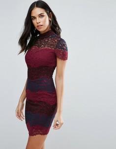 Кружевное платье-футляр колор блок Jessica Wright - Красный