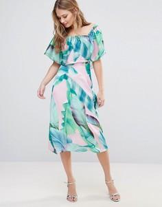 Платье миди с пальмовым принтом Every Cloud - Мульти
