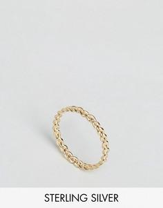 Позолоченное серебряное плетеное кольцо ASOS - Золотой