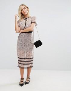 Прозрачная юбка миди с цветочным принтом Fashion Union - Розовый
