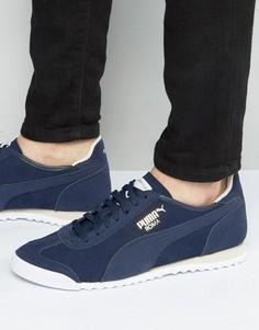 Синие кожаные кроссовки Puma Roma Og 36132003 - Синий