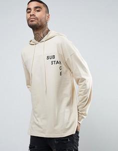Oversize-худи с заниженной линией плеч, капюшоном и принтом ASOS - Бежевый