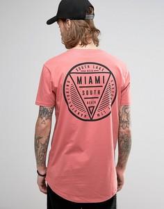 Супердлинная футболка с принтом Miami и закругленным краем ASOS - Розовый