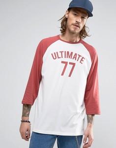 Oversize-футболка с рукавами реглан 3/4 и принтом Ultimate ASOS - Белый