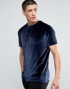 Темно-синяя велюровая футболка ASOS - Темно-синий