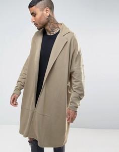 Супердлинное легкое трикотажное пальто ASOS - Бежевый