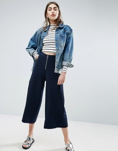 Строгая юбка-брюки с кольцом на бегунке ASOS - Темно-синий