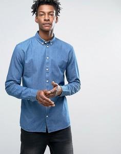 Зауженная джинсовая рубашка на пуговицах Minimum Barden - Синий