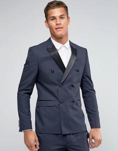 Двубортный пиджак зауженного кроя ASOS - Черный