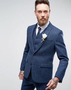Приталенный пиджак в клетку из твида Харрис на основе 100% шерсти ASOS WEDDING - Синий