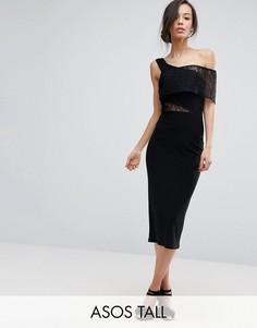 Платье миди с открытыми плечами и кружевной вставкой ASOS TALL - Черный