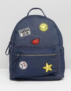 Джинсовый рюкзак с нашивками Yoki - Синий