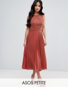 Платье миди с плиссировкой ASOS PETITE - Красный