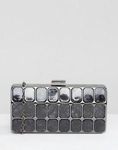 Черный клатч с мраморным эффектом Liquorish - Серый