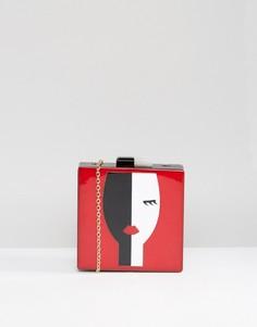 Сумка-клатч с принтом лица Liquorish - Красный