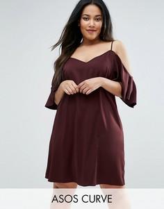 Платье с открытыми плечами ASOS CURVE - Красный
