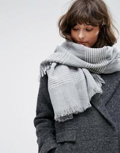 Серый шарф с белыми полосками Pieces - Серый