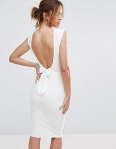 Платье миди с бантом сзади Club L - Кремовый
