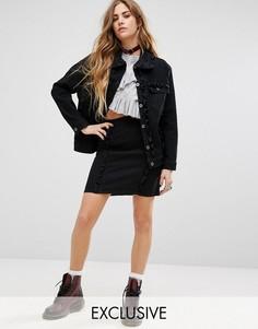 Джинсовая юбка мини с оборками Reclaimed Vintage Inspired - Черный