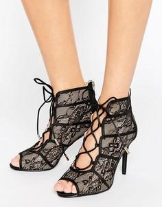 Кружевные сандалии на каблуке Forever Unique Rena - Черный