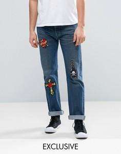 Синие джинсы с нашивками Reclaimed Vintage Revived X Romeo & Juliet Levi 501 - Синий