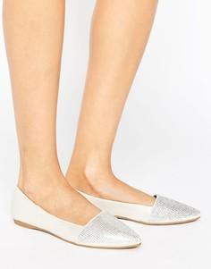 Остроносые туфли на плоской подошве с блестками Little Mistress - Серебряный