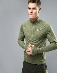 Зеленый свитшот с короткой молнией Nike Running 683906-331 - Зеленый