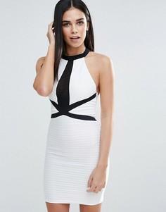 Облегающее платье с высокой горловиной и бандажем Lipsy - Мульти