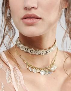 Двухъярусное ожерелье-чокер ASOS - Кремовый