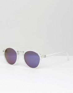 Круглые солнцезащитные очки в тонкой прозрачной оправе ASOS - Прозрачный