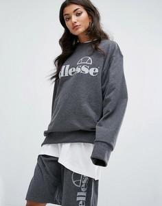 Комбинируемый oversize-свитшот с однотонным логотипом Ellesse - Серый