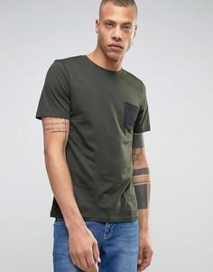 Футболка с контрастным карманом Produkt - Зеленый