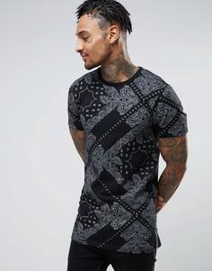 Длинная футболка с платочным принтом и молниями по бокам ASOS - Черный
