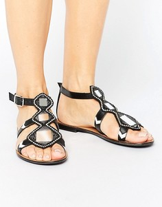 Кожаные сандалии с зеркальной отделкой Park Lane - Черный