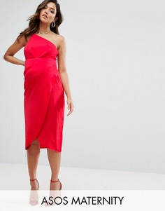 Платье миди на одно плечо с драпировкой ASOS Maternity - Красный
