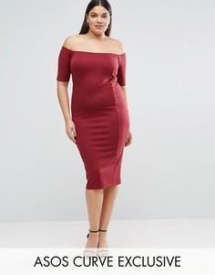 Облегающее платье из трикотажа понте со швами и открытыми плечами ASOS CURVE - Красный