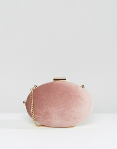 Бархатный клатч с ремешком на запястье True Decadence - Розовый