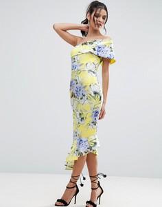 Платье миди на одно плечо с цветочным принтом и воланом по низу ASOS - Желтый