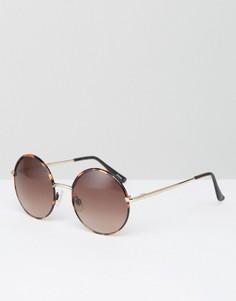 Круглые солнцезащитные очки в стиле 90-х Monki - Коричневый