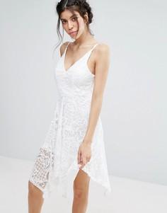 Кружевное платье с асимметричным подолом Love Triangle - Белый